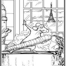 Dibujo para colorear : Remy la rata cocinando
