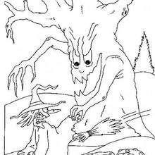 Dibujo de una bruja perseguida por un árbol encantado - Dibujos para Colorear y Pintar - Dibujos para colorear FIESTAS - Dibujos para colorear HALLOWEEN - Dibujos de BRUJAS para colorear - Dibujo BRUJAS HALLOWEEN para colorear