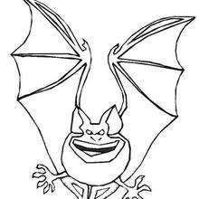 Dibujo para colorear : un Murcielago de Halloween