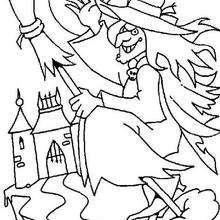 Dibujo de una bruja - Dibujos para Colorear y Pintar - Dibujos para colorear FIESTAS - Dibujos para colorear HALLOWEEN - Dibujos de BRUJAS para colorear - Dibujo BRUJAS HALLOWEEN para colorear