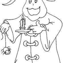 Dibujo de un fantasma con una vela - Dibujos para Colorear y Pintar - Dibujos para colorear FIESTAS - Dibujos para colorear HALLOWEEN - Dibujos para colorear FANTASMAS HALLOWEEN