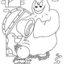Dibujo para colorear : un fantasma verdugo de Halloween