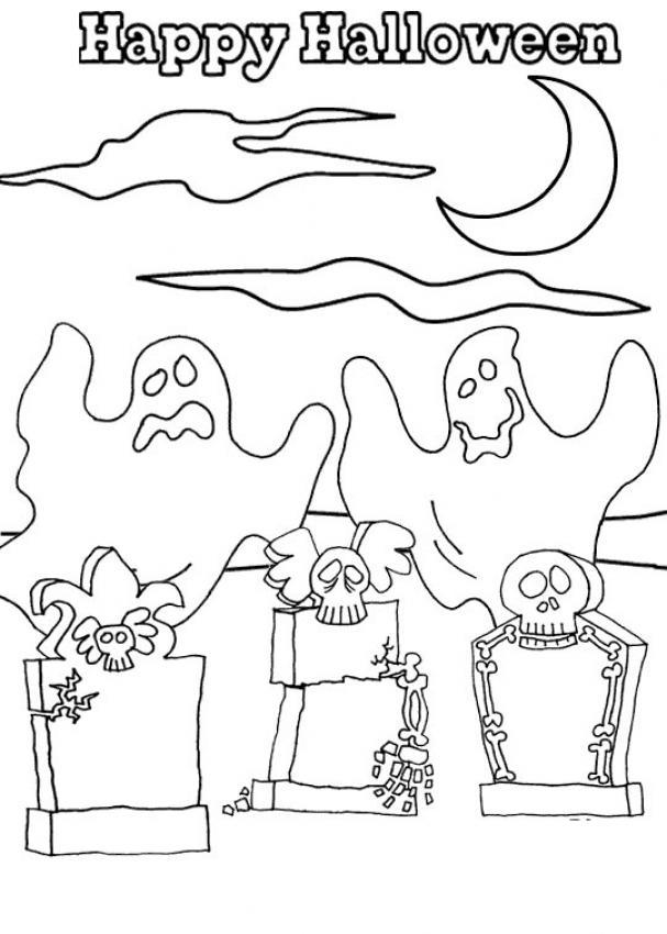 Dibujos para colorear tumbas con esqueletos de halloween - es ...