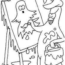 Dibujo para colorear : Dibujar un fantasma para Halloween