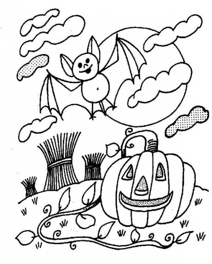 Dibujo para colorear : Calabaza y murcielago de Halloween