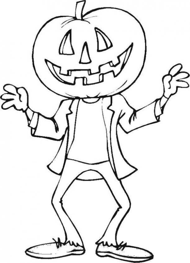 Dibujos para colorear una calabaza fantasma de halloween - Dibujos infantiles halloween ...