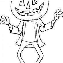 Dibujo de una calabaza fantasma de Halloween - Dibujos para Colorear y Pintar - Dibujos para colorear FIESTAS - Dibujos para colorear HALLOWEEN - CALABAZAS HALLOWEEN  para colorear