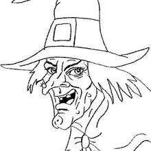 Cara de bruja de Halloween - Dibujos para Colorear y Pintar - Dibujos para colorear FIESTAS - Dibujos para colorear HALLOWEEN - Dibujos de BRUJAS para colorear - Dibujos RETRATO DE BRUJA para colorear