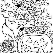 Dibujo para colorear : Brebaje maléfico de Bruja