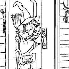 Dibujo de la bruja de Halloween en su casa - Dibujos para Colorear y Pintar - Dibujos para colorear FIESTAS - Dibujos para colorear HALLOWEEN - Dibujos de BRUJAS para colorear - Dibujo BRUJAS HALLOWEEN para colorear