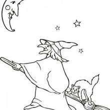 dibujo de una bruja de Halloween volando debajo de la luna - Dibujos para Colorear y Pintar - Dibujos para colorear FIESTAS - Dibujos para colorear HALLOWEEN - Dibujos de BRUJAS para colorear - Dibujos de BRUJA EN SU ESCOBA