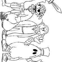 Dibujo para colorear : Disfraces de niños para Halloween