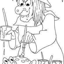dibujo de la bruja de Halloween pintando una rana - Dibujos para Colorear y Pintar - Dibujos para colorear FIESTAS - Dibujos para colorear HALLOWEEN - Dibujos de BRUJAS para colorear - Dibujo POCIMA DE BRUJA para colorear