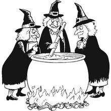 Las brujas preparan la pocima mágica de Halloween - Dibujos para Colorear y Pintar - Dibujos para colorear FIESTAS - Dibujos para colorear HALLOWEEN - Dibujos de BRUJAS para colorear - Dibujo POCIMA DE BRUJA para colorear