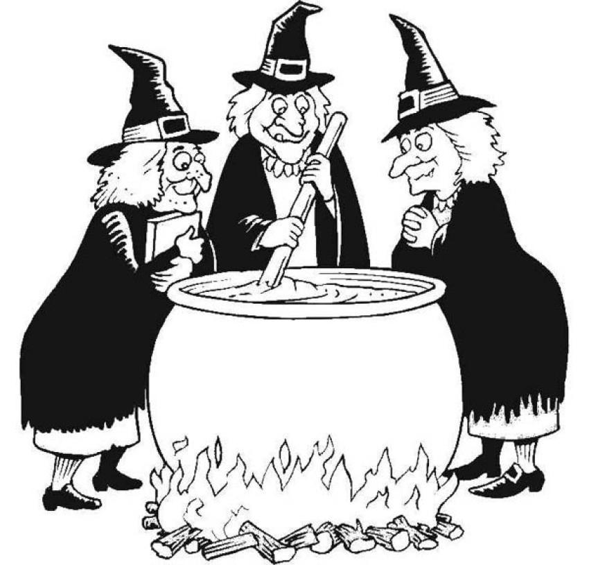 Dibujo para colorear : Las brujas preparan la pocima mágica de Halloween