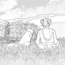 Dibujo para colorear : zorro con la niña