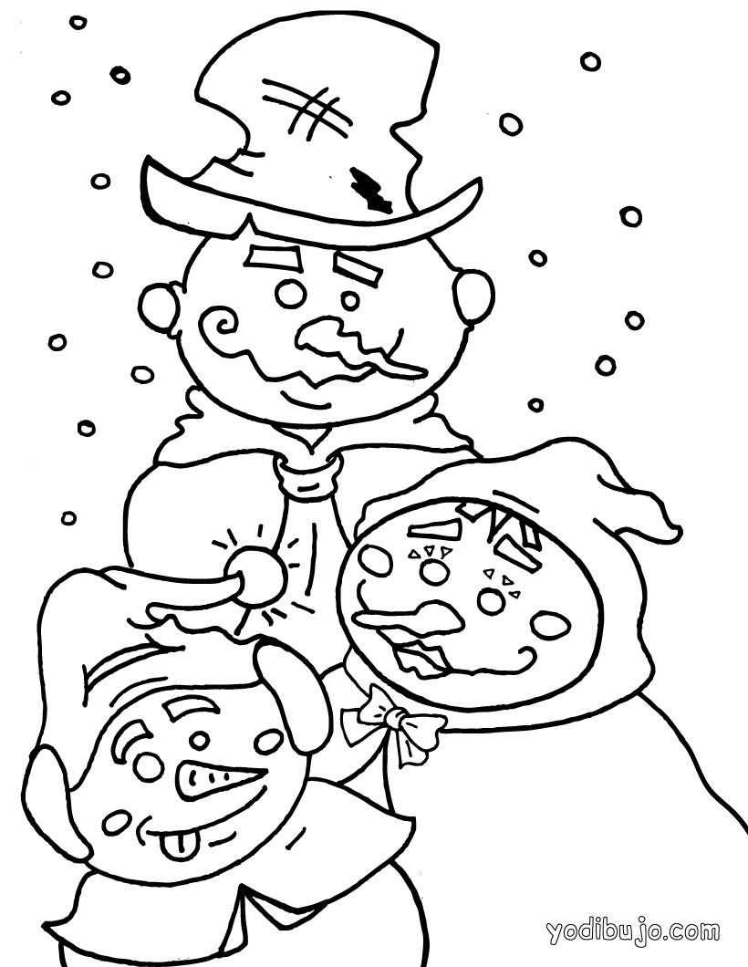 Dibujo para colorear : 3 muñecos de nieve