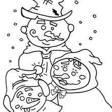 Dibujo de 3 muñecos de nieve - Dibujos para Colorear y Pintar - Dibujos para colorear FIESTAS - Dibujos para colorear de NAVIDAD - Colorear dibujos MUÑECOS DE NAVIDAD