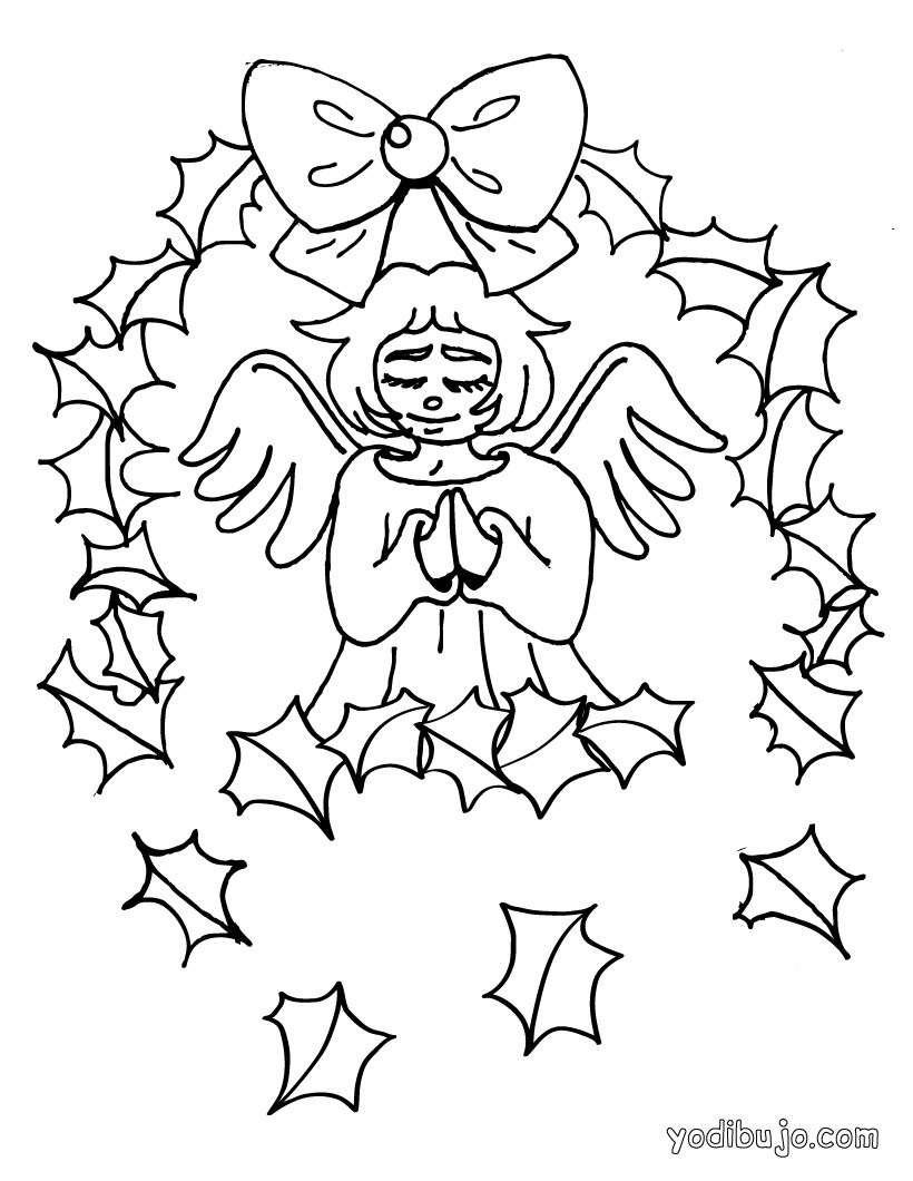 Dibujos para colorear angel navideño con su mascota - es.hellokids.com