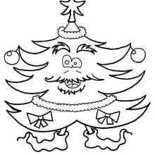 Dibujo Arbol de Navidad personificado para colorear - Dibujos para Colorear y Pintar - Dibujos para colorear FIESTAS - Dibujos para colorear de NAVIDAD - Dibujos para colorear ARBOL DE NAVIDAD