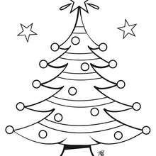 Dibujo para colorear : Arbol de Navidad con estrellas
