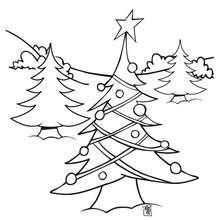 Dibujo para colorear : Arbol de Navidad afuera