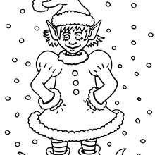 Dibujo el guiño del duende ayudante navideño para colorear - Dibujos para Colorear y Pintar - Dibujos para colorear FIESTAS - Dibujos para colorear de NAVIDAD - Dibujos ELFOS DE NAVIDAD para colorear