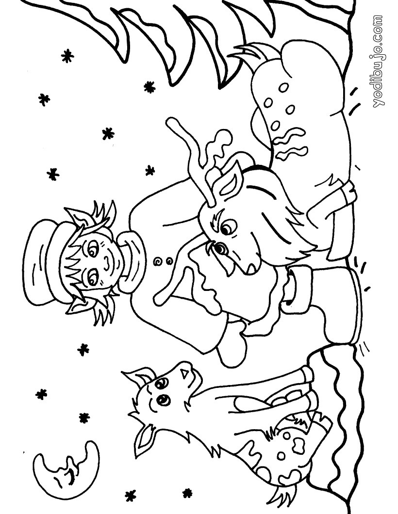 Dibujos para colorear un reno navideño con un duende - es.hellokids.com