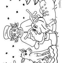 Dibujo para colorear del ayudante navideño y los renos - Dibujos para Colorear y Pintar - Dibujos para colorear FIESTAS - Dibujos para colorear de NAVIDAD - Dibujos ELFOS DE NAVIDAD para colorear