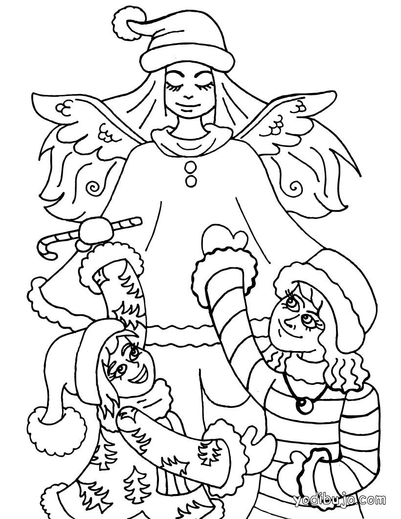 Dibujos para colorear angel de navidad - es.hellokids.com
