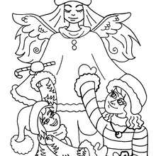 Dibujo angel de Navidad para colorear - Dibujos para Colorear y Pintar - Dibujos para colorear FIESTAS - Dibujos para colorear de NAVIDAD - Dibujos de ANGELES NAVIDAD para colorear