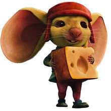 Dibujo del raton Depereaux con queso