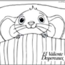 Dibujo para colorear : ratón en su cama