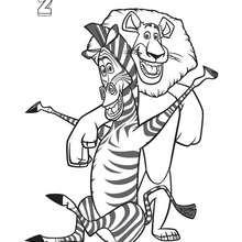 Dibujo de Alex y Marty - Dibujos para Colorear y Pintar - Dibujos de PELICULAS colorear - Dibujos para colorear y pintar MADAGASCAR - Dibujos para colorear MADAGASCAR 2