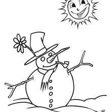 Dibujo para colorear : muñeco de nieve bajo el sol
