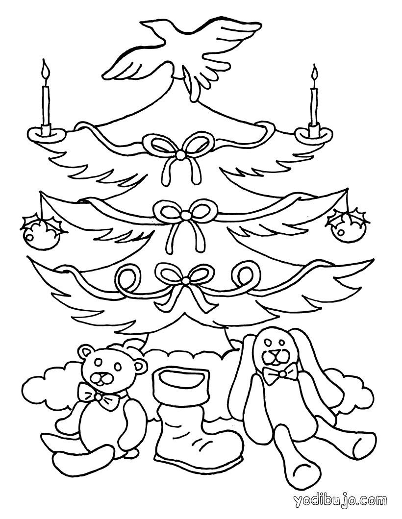 dibujo para colorear arbol de navidad con velas