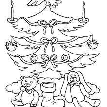 Dibujo para colorear : Arbol de Navidad con velas
