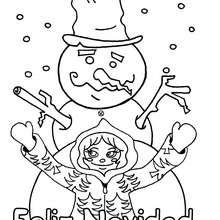 Dibujo para colorear : el muñeco de nieve y la niña