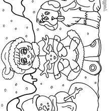 Dibujo de el muñeco, la niña y el perro - Dibujos para Colorear y Pintar - Dibujos para colorear FIESTAS - Dibujos para colorear de NAVIDAD - Colorear dibujos MUÑECOS DE NAVIDAD