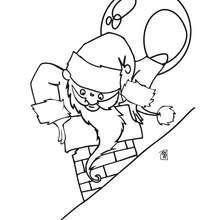 Dibujo Santa Claus en la chimenea para pintar - Dibujos para Colorear y Pintar - Dibujos para colorear FIESTAS - Dibujos para colorear de NAVIDAD - Dibujos para colorear SANTA CLAUS - SANTA CLAUS pintar