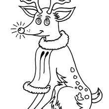 Dibujo de Rodolfo el reno - Dibujos para Colorear y Pintar - Dibujos para colorear FIESTAS - Dibujos para colorear de NAVIDAD - Colorear dibujos RENOS NAVIDEÑOS