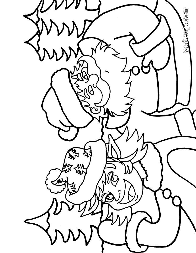 Dibujo para colorear : Duende y Santa Claus