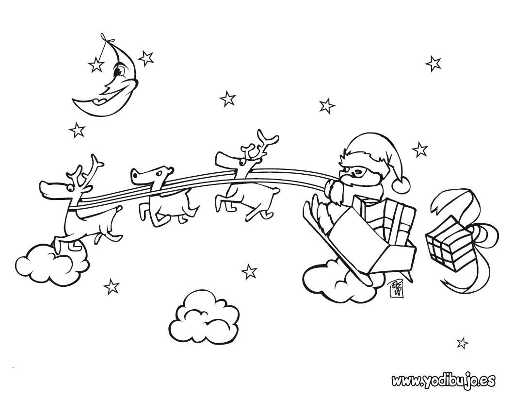Dibujos para colorear papá noel con su trineo - es.hellokids.com