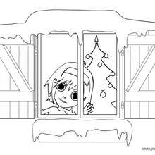 Dibujo de Ana esperando al Papá Noel - Dibujos para Colorear y Pintar - Dibujos para colorear FIESTAS - Dibujos para colorear de NAVIDAD - Colorear dibujos REGALOS DE NAVIDAD