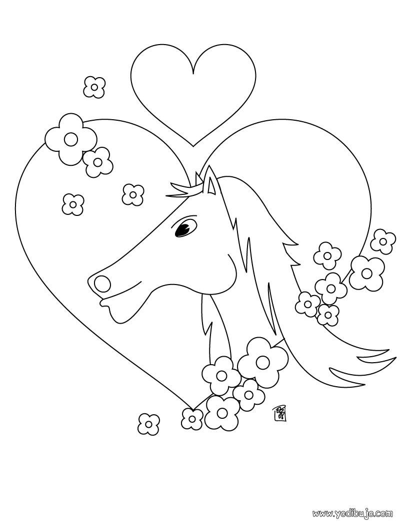 Dibujos para colorear caballo y flores - es.hellokids.com
