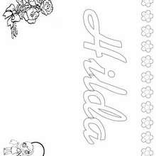 HILDA colorear nombres niñas - Dibujos para Colorear y Pintar - Dibujos para colorear NOMBRES - Dibujos para colorear NOMBRES NIÑAS