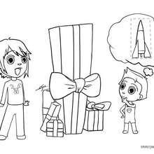 Dibujo de los regalos navideños de Teo y Matias - Dibujos para Colorear y Pintar - Dibujos para colorear FIESTAS - Dibujos para colorear de NAVIDAD - Colorear dibujos REGALOS DE NAVIDAD