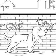 Dibujo para colorear : un perro tipo Basset