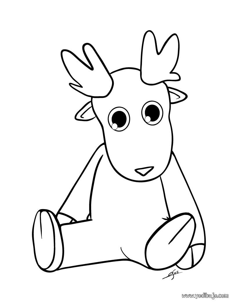 Dibujo para colorear : un animal navideño de felpa