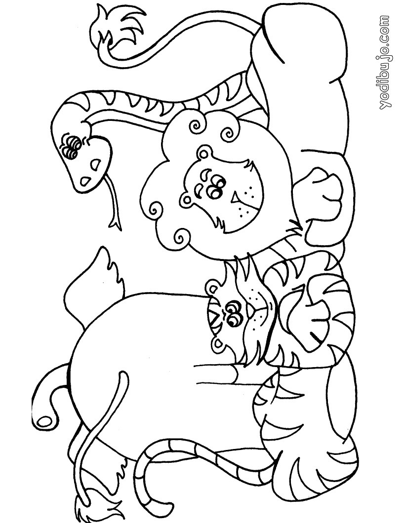 Dibujo para colorear : serpiente, gato, perro